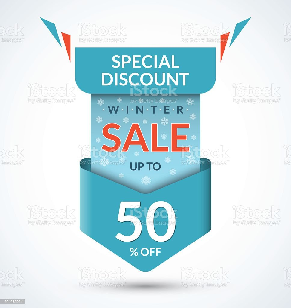Winter sale banner. Discount label