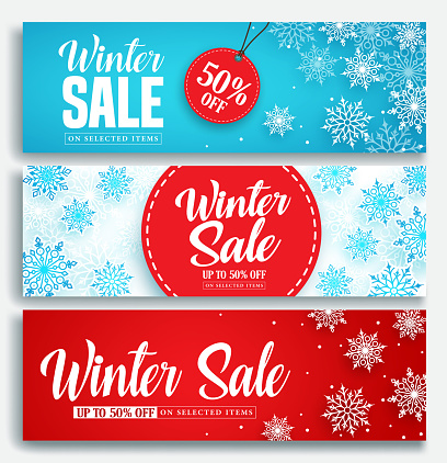 Winter sale banner set with discount text and snow elements