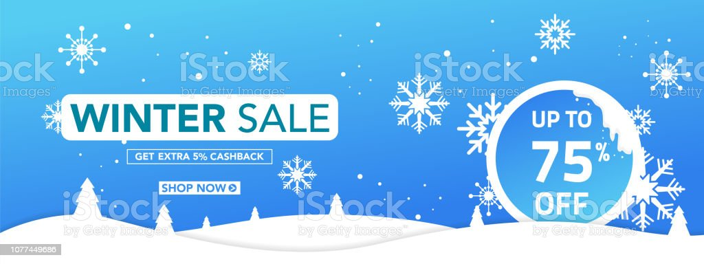 Winter Sale Banner Template With Snow Flakes Ice Shards For Shopping