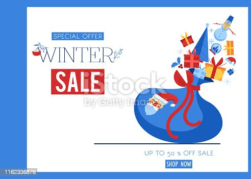 Winter sale banner vector illustration with Santa Claus bag with gifts and holiday symbols isolated on white background. Flat decorative traditional elements for seasonal promotion poster.