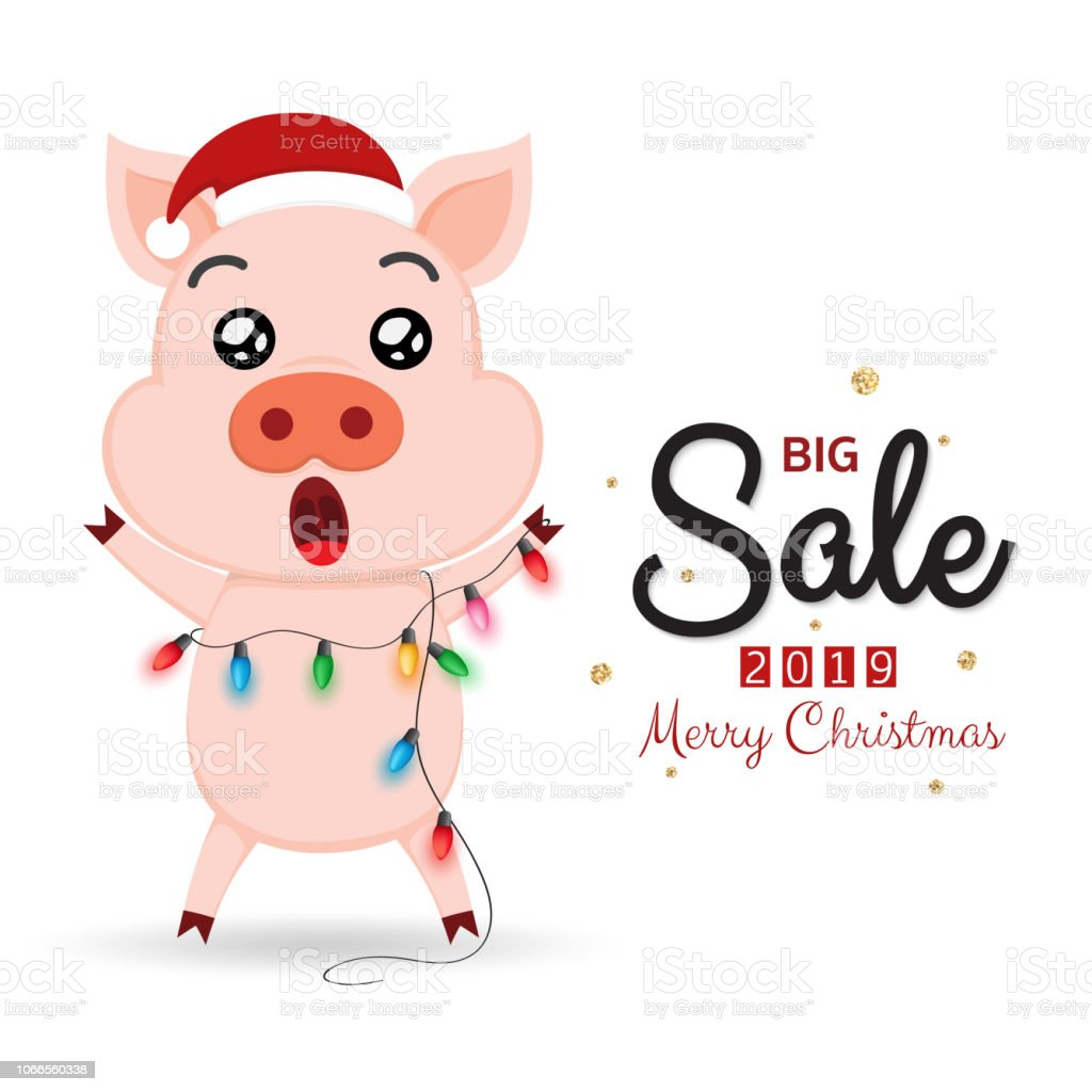 Winter Sale Banner With Cute Pig And Christmas Lights Stock