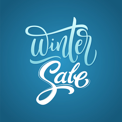 Winter Sale calligraphy inscription. Brush lettering calligraphy on blue isolated background. Text for banners, promotions, calendar, cards, invitations, templates with hand drawn lettering. Vector illustration.