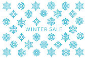 winter sale. card with snow crystals.