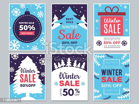 Winter sale cards. Christmas promo banners big discounts and special season offers vector labels. Illustration christmas offer and discount, banner and poster advertising