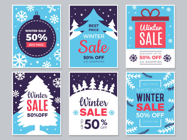 Winter sale cards. Christmas promo banners big discounts and special season offers vector labels Winter sale cards. Christmas promo banners big discounts and special season offers vector labels. Illustration christmas offer and discount, banner and poster advertising holidays and seasonal stock illustrations