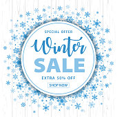 Winter Sale Christmas Snowflakes Round Background - Vector Illustration