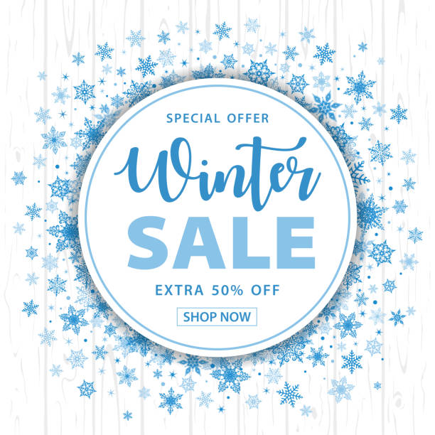 Winter Sale Christmas Snowflakes Round Background - Vector Winter Sale Christmas Snowflakes Round Background - Vector Illustration january stock illustrations