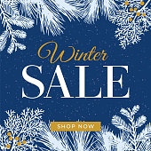 Winter sale design for advertising, banners, leaflets and flyers. - Illustration