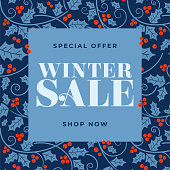 Winter sale background with stylized mistletoe and other branches and leaves. Holiday greeting card. Stock illustration.