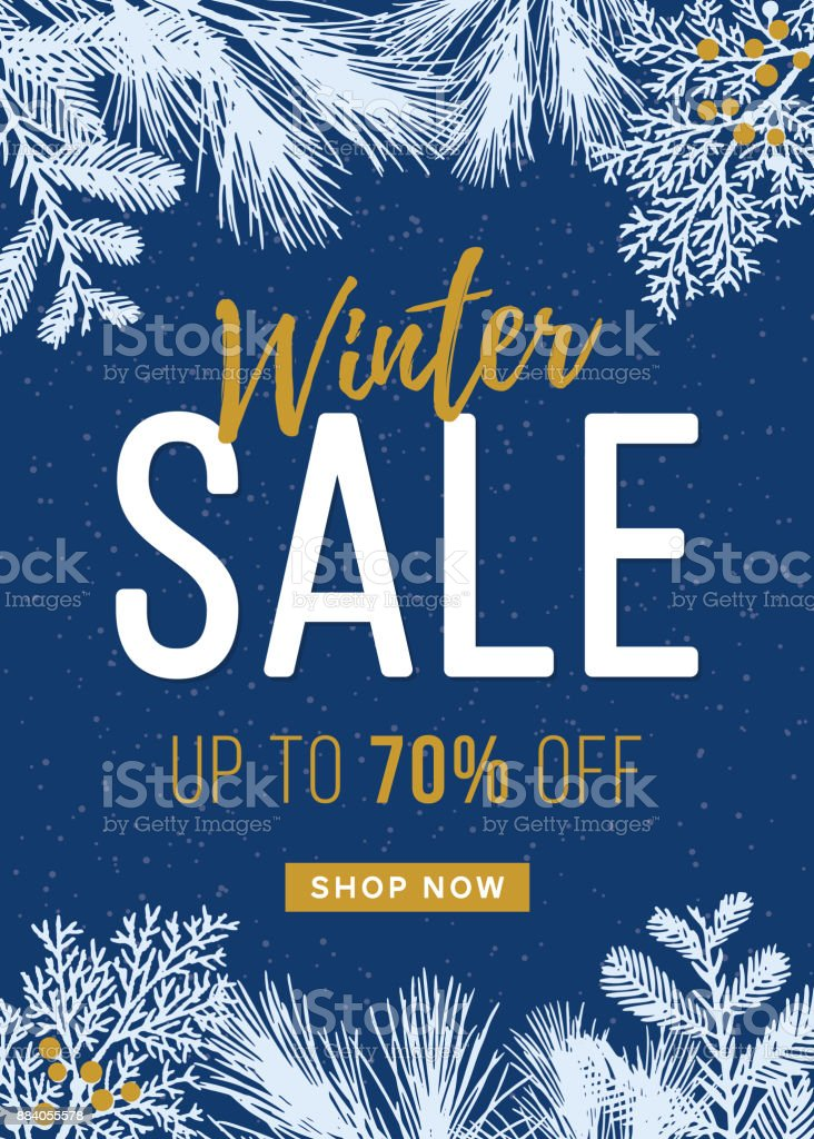 Winter Sale design for advertising, banners, leaflets and flyers. vector art illustration