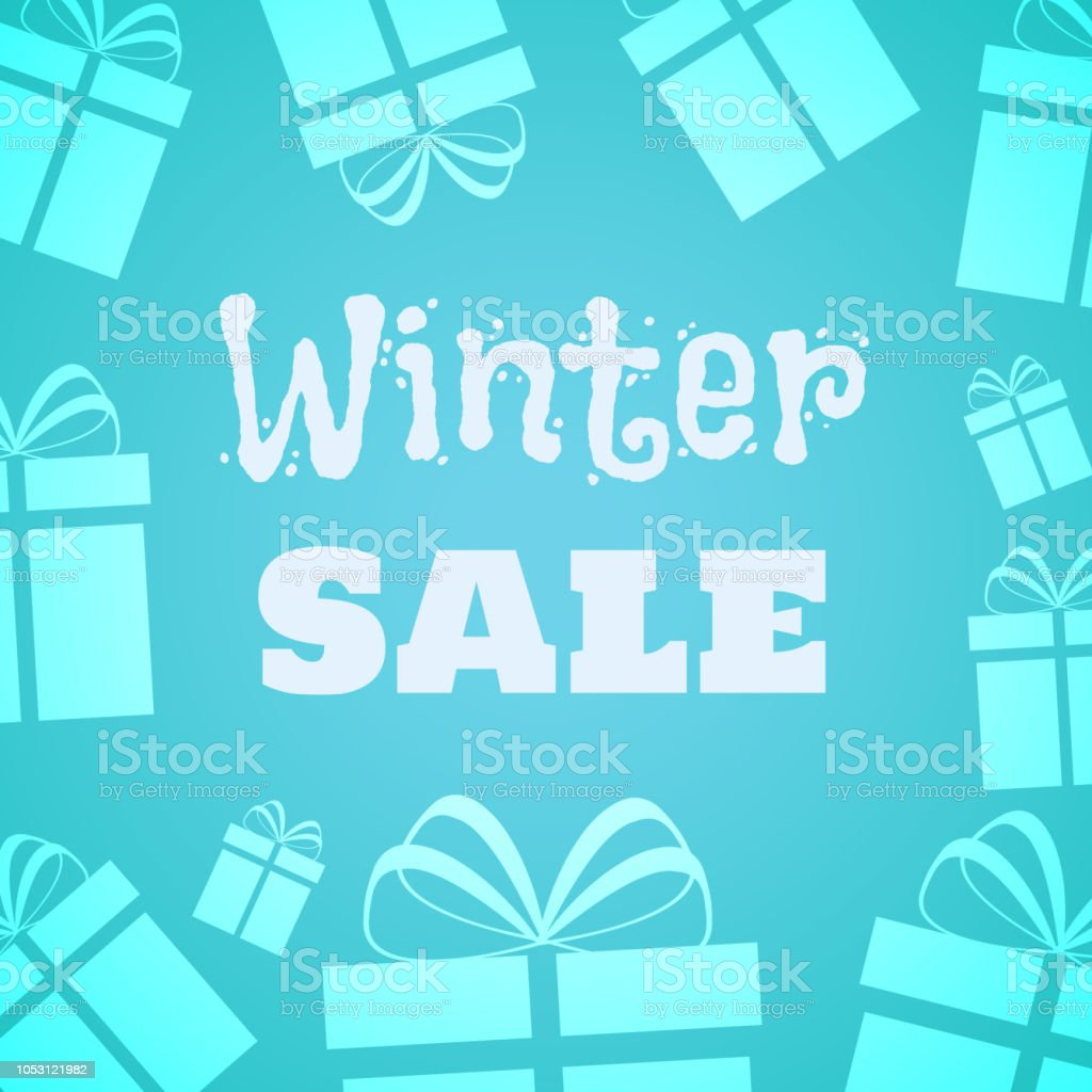 Winter Sale Gifts Icons On The Light Blue Background Vector ...