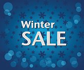 Winter Sale inscription on bright blue background with snowflake
