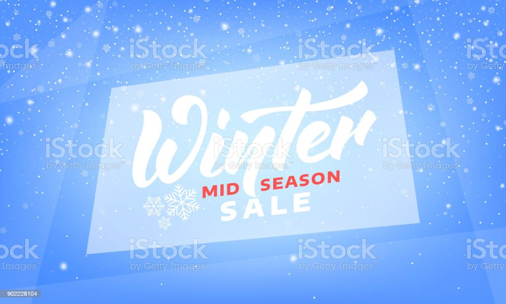 Winter sale. Mid Season Winter banner with lettering, ice and snow vector art illustration