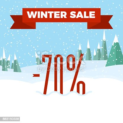 istock Winter sale numbers on the beautiful Christmas landscape background with trees, snowflakes, falling snow. 883150338