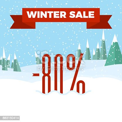 istock Winter sale numbers on the beautiful Christmas landscape background with trees, snowflakes, falling snow. 883150414