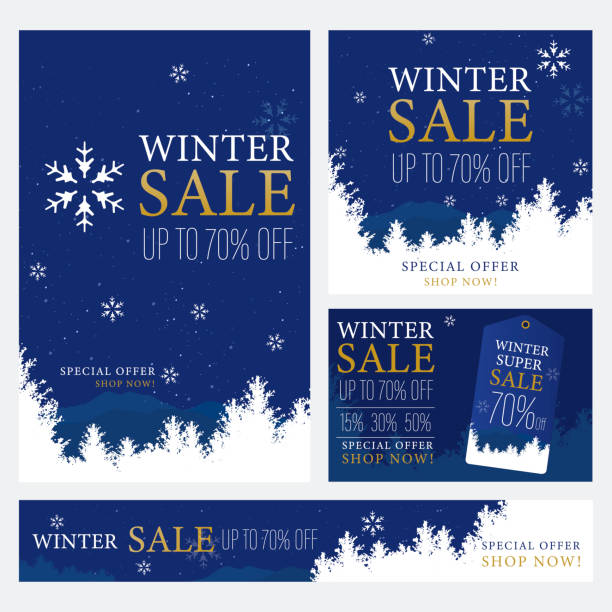 illustrations, cliparts, dessins animés et icônes de modèle de bannière de promotion soldes d'hiver. - winter