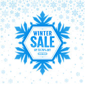 Snowflake frame with text. Winter sale. Vector illustration. Blue design element on white background. Snowflakes background.