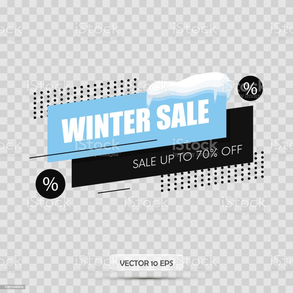 Winter sale tag. Isolated on transparency background. Snow cap. Vector royalty-free winter sale tag isolated on transparency background snow cap vector stock illustration - download image now