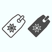 Winter sale tag line and solid icon. Discount with snowflake sign. Christmas vector design concept, outline style pictogram on white background, use for web and app. Eps 10