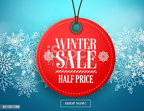 istock Winter sale tag vector banner. Red sale tag in snow 841551288