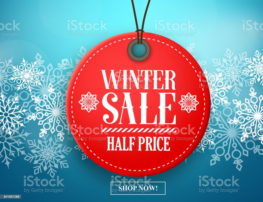 Winter sale tag vector banner. Red sale tag in snow vector art illustration