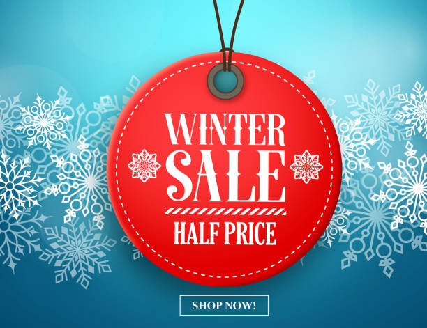 winter sale tag vector banner. red sale tag in snow - christmas background stock illustrations