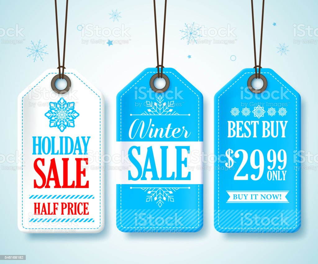 Winter Sale Tags Set for Seasonal Store Promotions Hanging vector art illustration