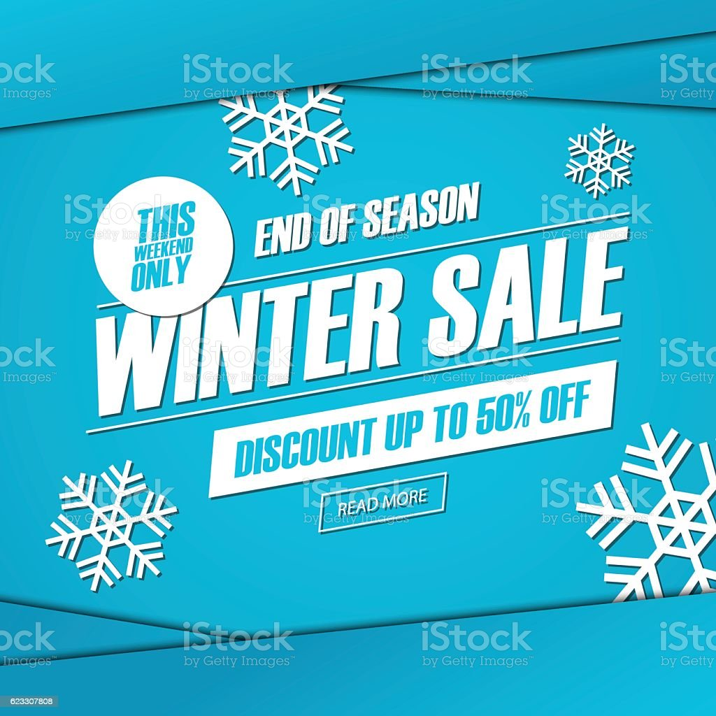 Winter sale. This weekend special offer banner. vector art illustration