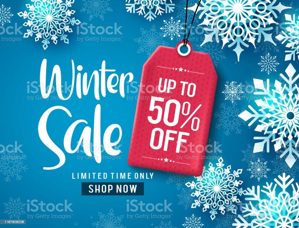 Зимняя продажа вектор баннер дизайн. Текст скидки на зимнюю распродажу с белыми снежинками и красным тегом. - Векторная графика Белый роялти-фри