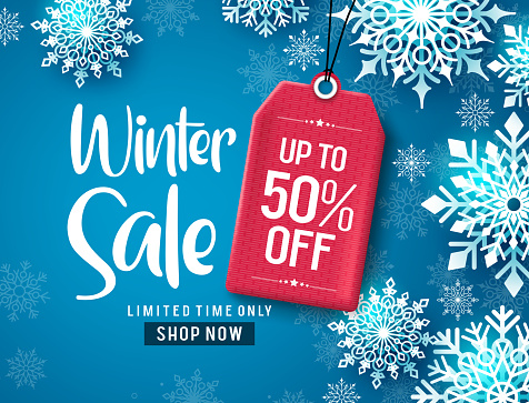Winter sale vector banner design. Winter sale discount text with white snowflakes and red tag.