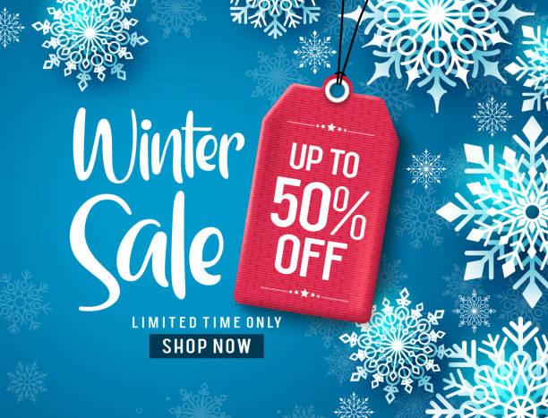 illustrations, cliparts, dessins animés et icônes de conception de bannière vectorielle de vente d'hiver. texte de réduction de vente d'hiver avec des flocons de neige blancs et l'étiquette rouge. - winter