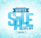 Winter sale vector banner design with blue sale text in white snow background for end of season shopping promotion. Vector illustration.