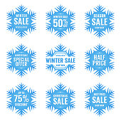 Set of snowflakes with text. Winter sale. Vector illustration. Blue design elements on white background.