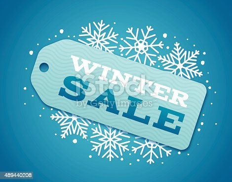 Winter sale with snowflakes and sale tag sale concept.