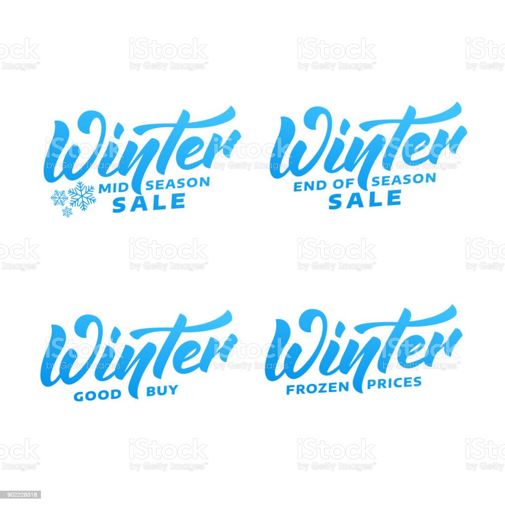 Winter sale. Winter lettering labels. Winter mid season, end season sale labels vector art illustration