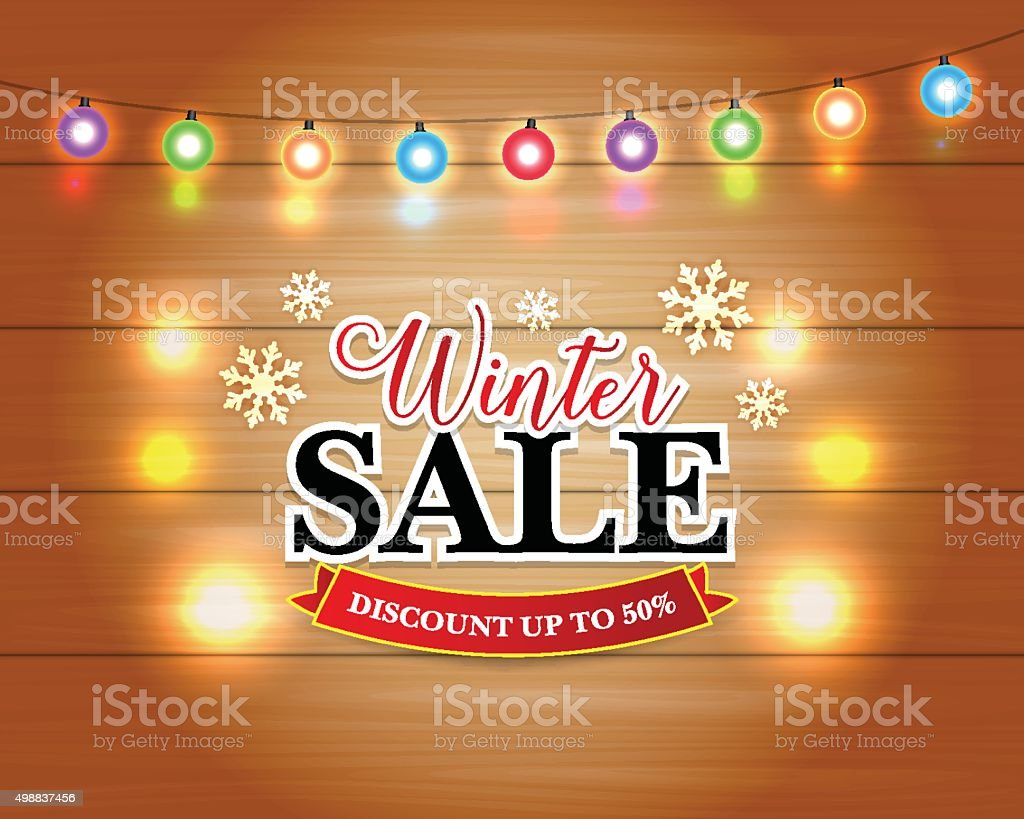 Winter Sale With Christmas Lights Snowflakes Holiday Greeting Cards