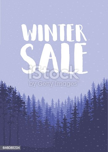 istock Winter sale words on the beautiful Chrismas flat Winter holidays landscape background with trees, snowflakes, falling snow. 646085204