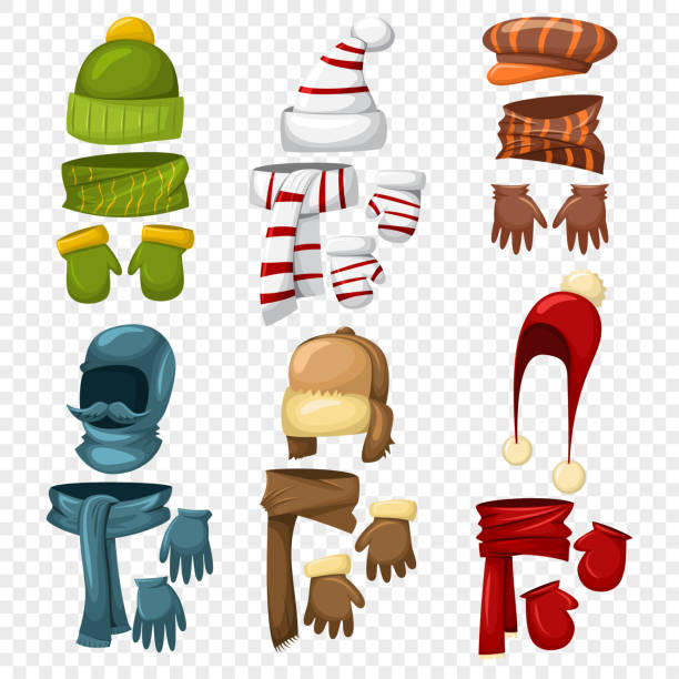 ilustrações de stock, clip art, desenhos animados e ícones de winter scarf, hats and caps, gloves and mittens set for men and women. vector cartoon icons isolated on a transparent background. clothes for cold weather. knitted accessories. - xaile