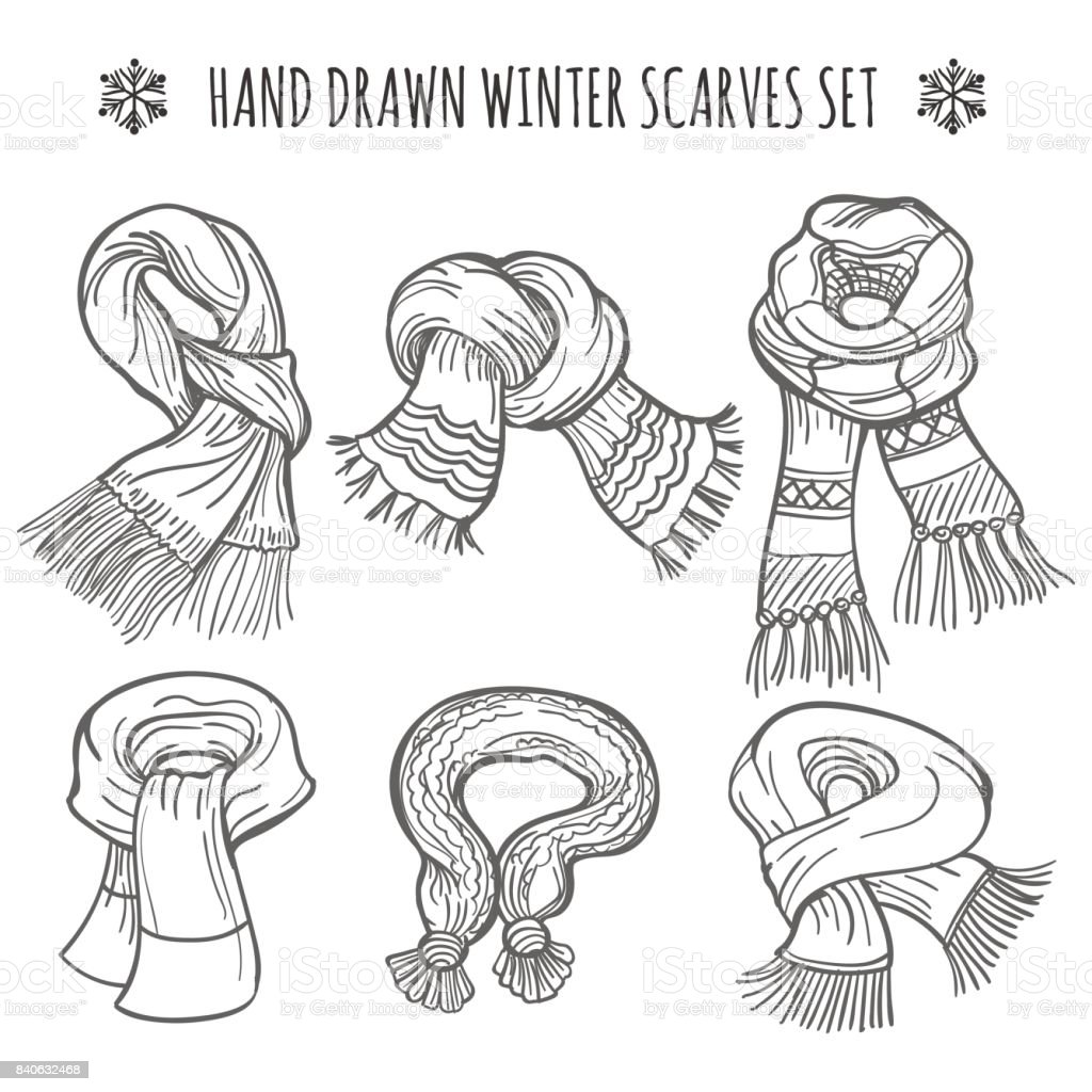 Winter Scarves Sketch On White Background Stock Illustration Download Image Now Istock