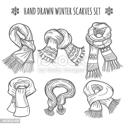 Sketch of winter scarves on white background, vector illustration