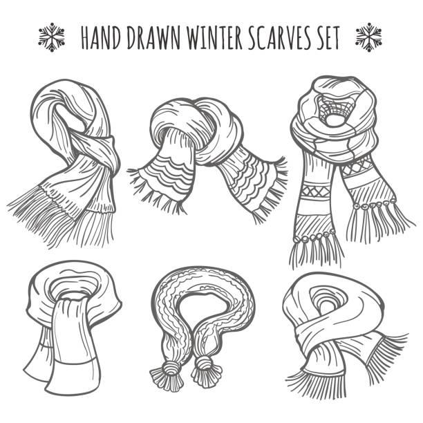 winterschals skizzieren auf weißem hintergrund - schals stock-grafiken, -clipart, -cartoons und -symbole