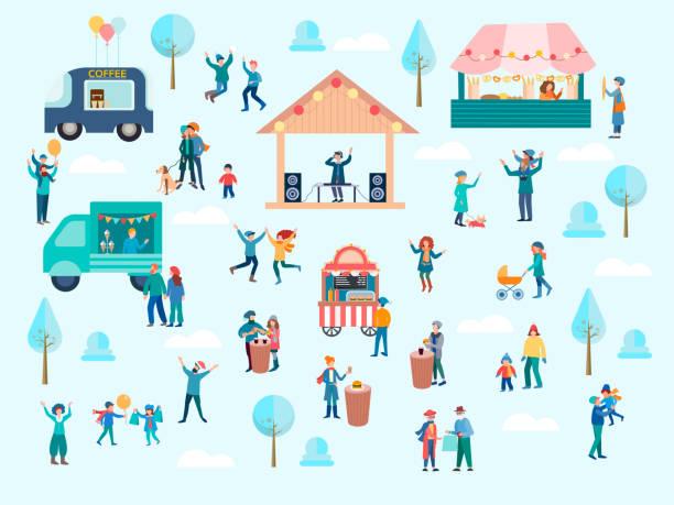 winter-szene, glückliche menschen auf der wintermesse werden mit street food, burger, shopping, spielen mit kindern behandelt. - weihnachtsmarkt stock-grafiken, -clipart, -cartoons und -symbole