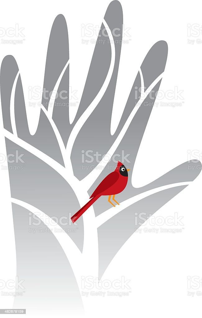 Winter scene of a tree and one cardinal bird royalty-free winter scene of a tree and one cardinal bird stock vector art & more images of bare tree