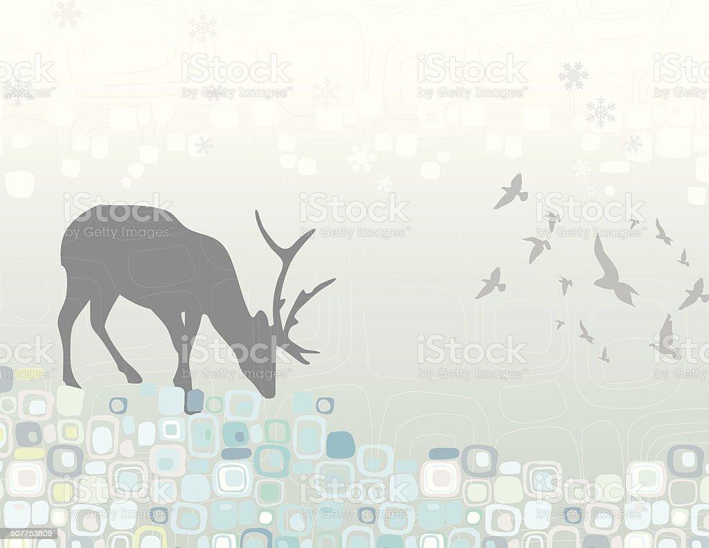 Winter scene reindeer abstract royalty-free stock vector art
