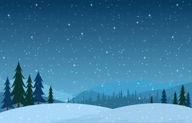 ilustrações, clipart, desenhos animados e ícones de paisagem da neve da cena do inverno com ilustração do vetor da montanha das árvores de pinho - inverno
