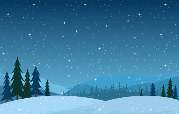 Winter Scene Snow Landscape with Pine Trees Mountain Vector Illustration Winter Scene Snow Landscape with Pine Trees Mountain Vector Illustration winter stock illustrations