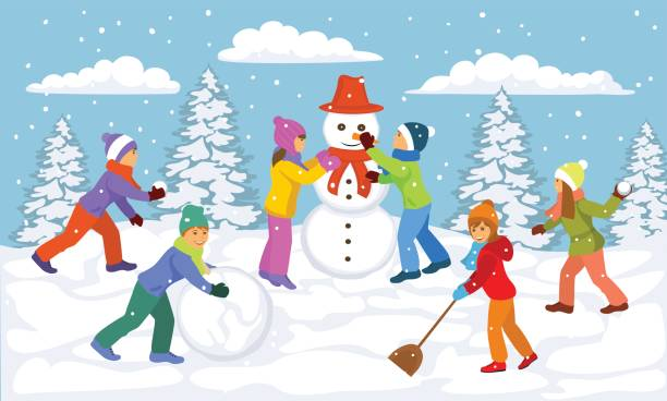 Top 60 Making A Snowman Clip Art, Vector Graphics and ...
