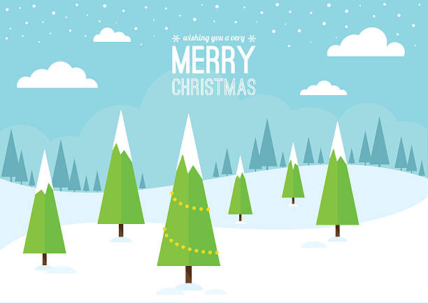 ilustrações, clipart, desenhos animados e ícones de cena de inverno com árvores de natal. - paisagem cena não urbana