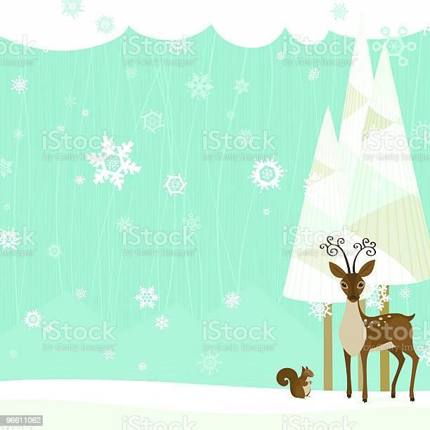 Winter Scene With Deer And Squirrel-vektorgrafik och fler bilder på Brun - Beskrivande färg