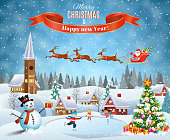 Happy new year and merry Christmas landscape card design with snowman. Winter scene with skating children. Santa Claus with deers in sky above the city. vector illustration